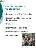 the cbu masters programmes