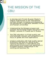 the mission of the cbu