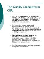 the quality objectives in cbu