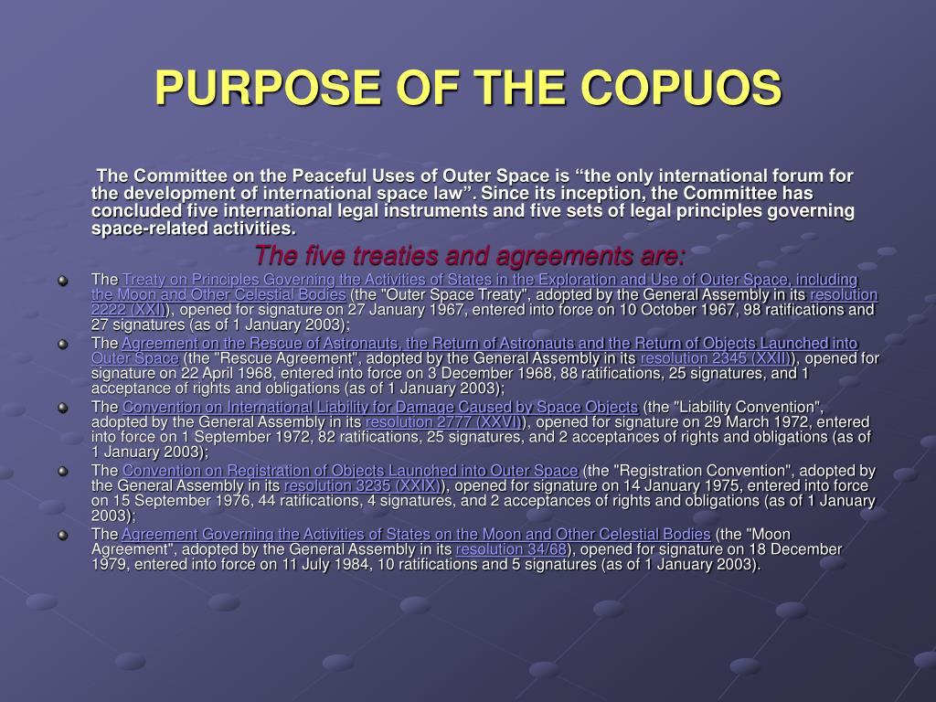 PURPOSE OF THE COPUOS