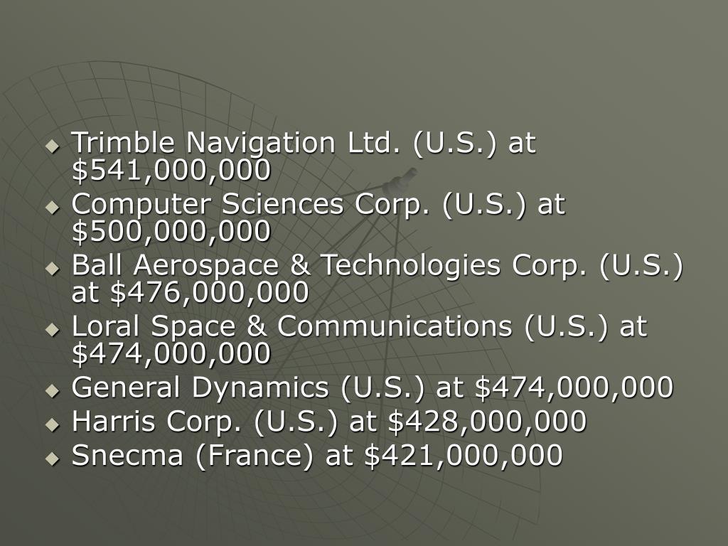 Trimble Navigation Ltd. (U.S.) at $541,000,000