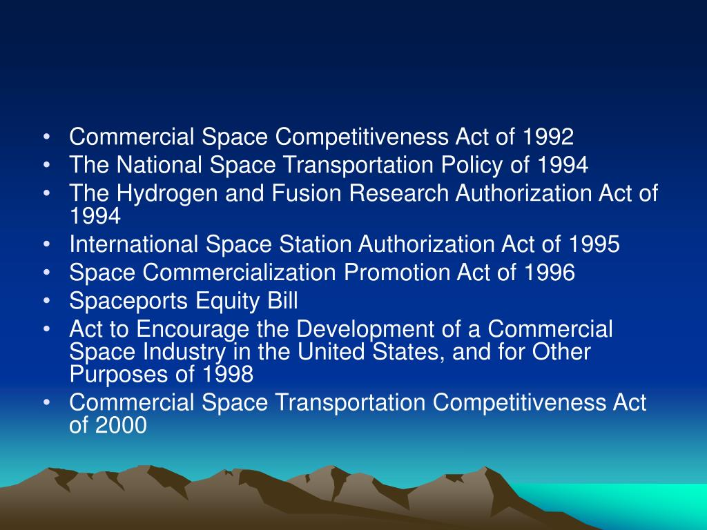 Commercial Space Competitiveness Act of 1992