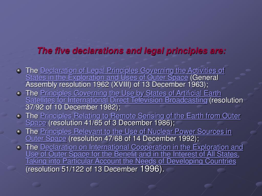 The five declarations and legal principles are: