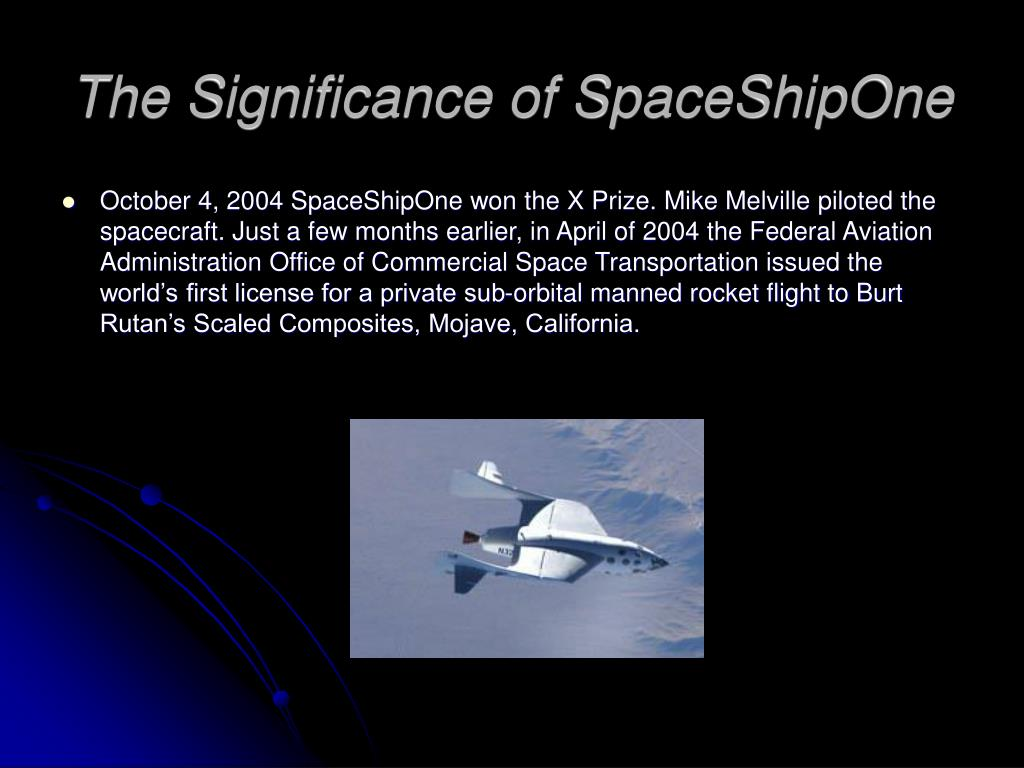 The Significance of SpaceShipOne