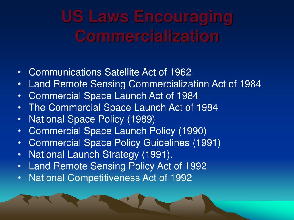 US Laws Encouraging Commercialization