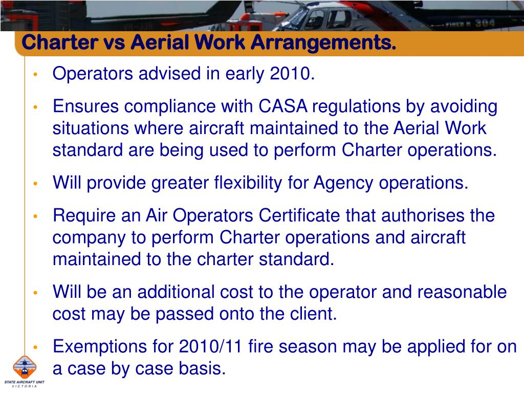 Charter vs Aerial Work Arrangements.
