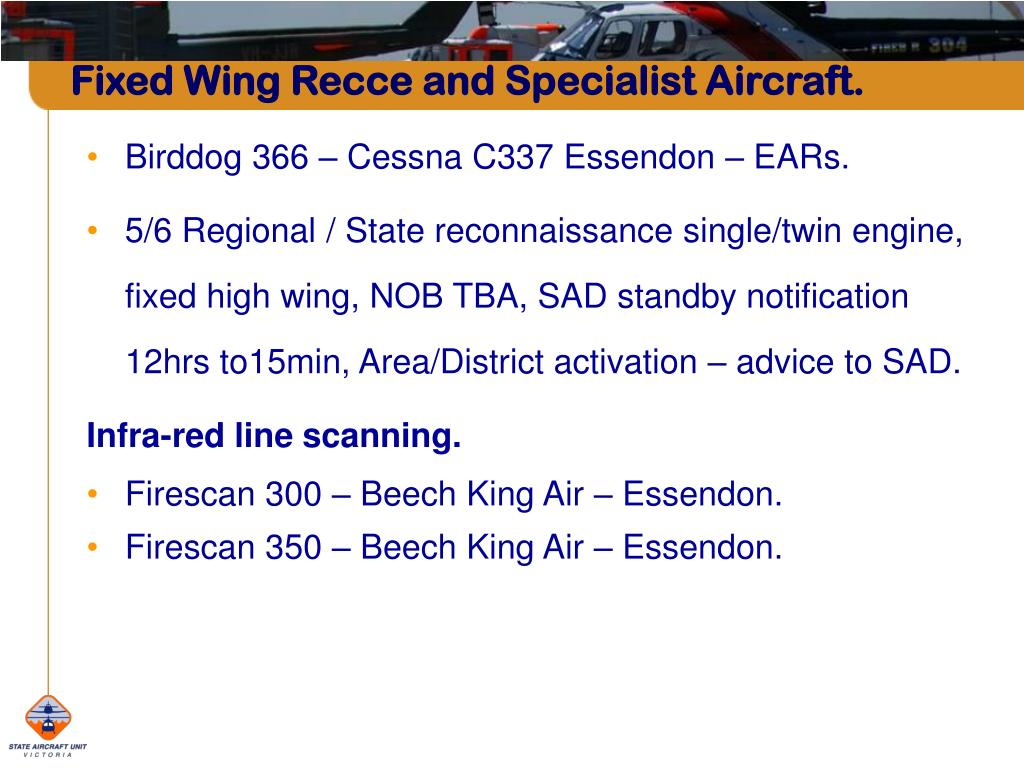 Fixed Wing Recce and Specialist Aircraft.