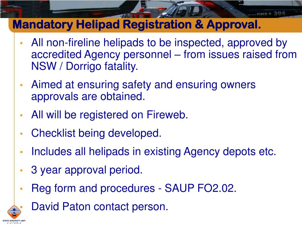 Mandatory Helipad Registration & Approval.
