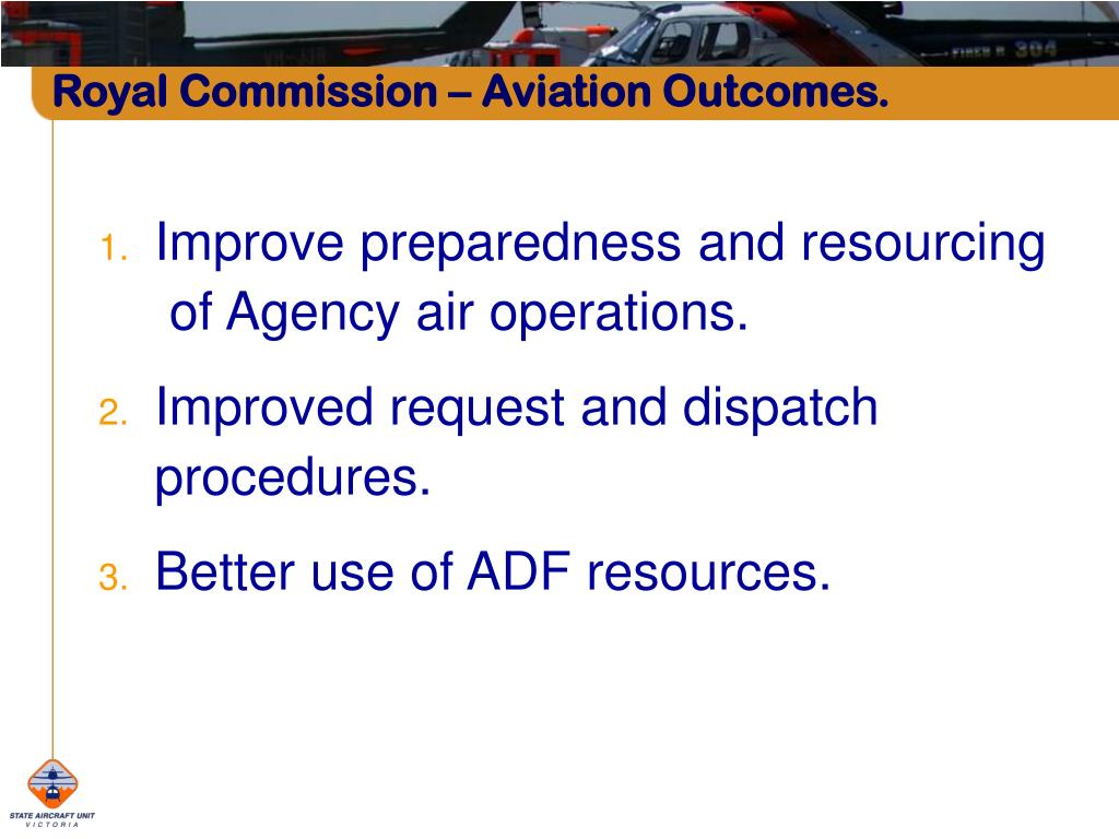 Royal Commission – Aviation Outcomes.