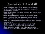 similarities of ib and ap