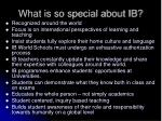 what is so special about ib