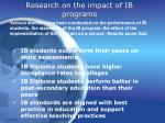 research on the impact of ib programs