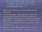 structural and cultural characteristics of the organizations 2