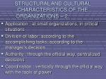 structural and cultural characteristics of the organizations 213