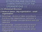 structural and cultural characteristics of the organizations 217