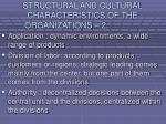 structural and cultural characteristics of the organizations 218