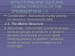 structural and cultural characteristics of the organizations 219