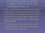 structural and cultural characteristics of the organizations 228