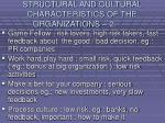 structural and cultural characteristics of the organizations 233