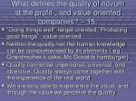 what defines the quality of novum at the profit and value oriented companies 15126