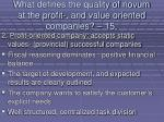 what defines the quality of novum at the profit and value oriented companies 15131