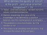 what defines the quality of novum at the profit and value oriented companies 15133