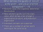what defines the quality of novum at the profit and value oriented companies 15134