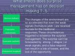 what effects does surprise management has on decision making 564