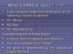 what is hrm all about 17