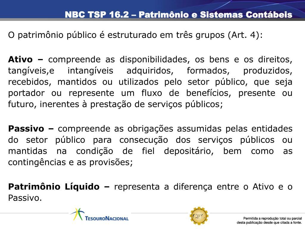 NBC TSP 16.2 – Patrimônio e Sistemas Contábeis