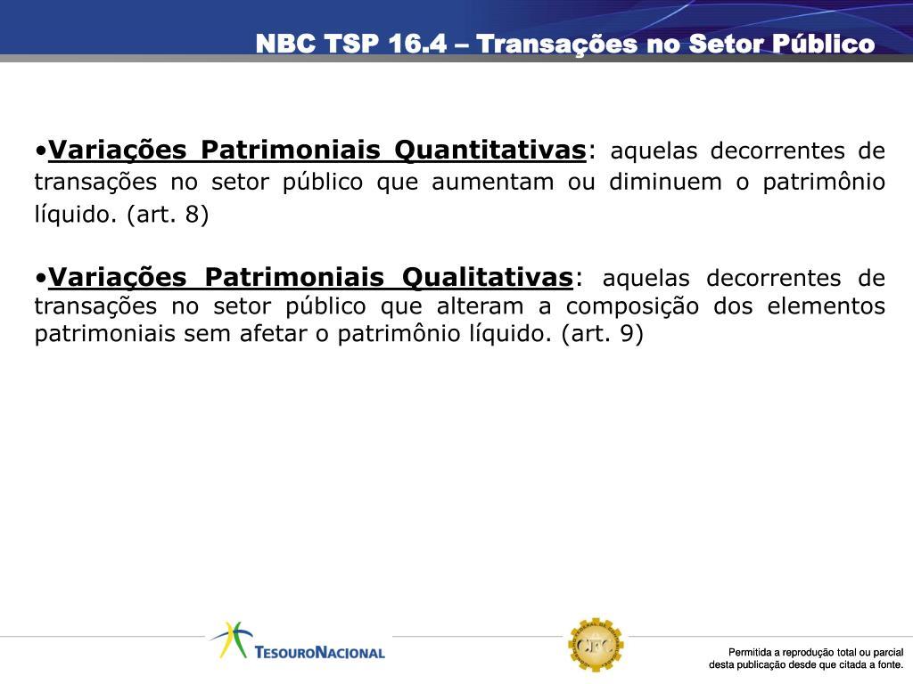 NBC TSP 16.4 – Transações no Setor Público