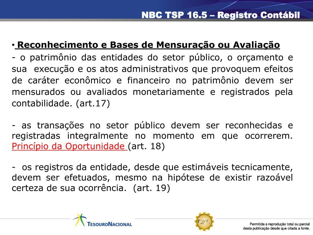 NBC TSP 16.5 – Registro Contábil