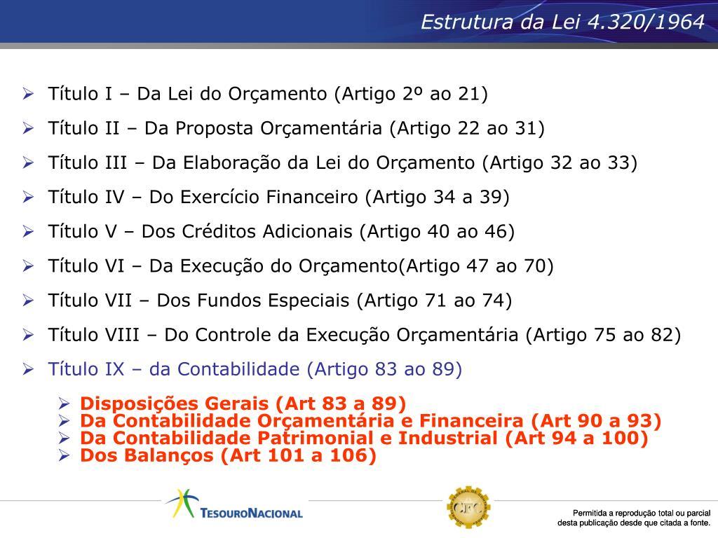 Estrutura da Lei 4.320/1964