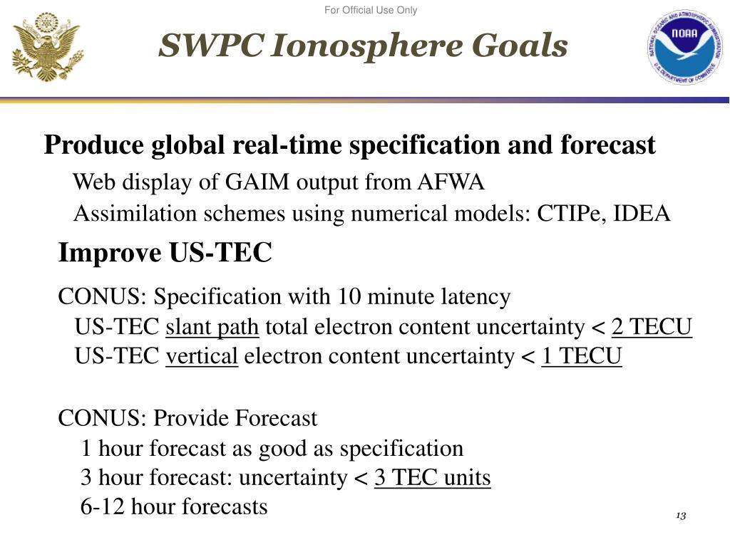 SWPC Ionosphere Goals