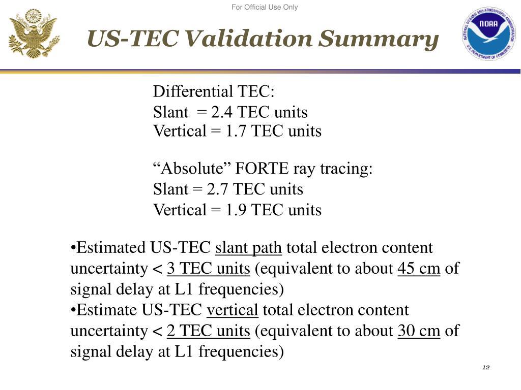 US-TEC Validation Summary