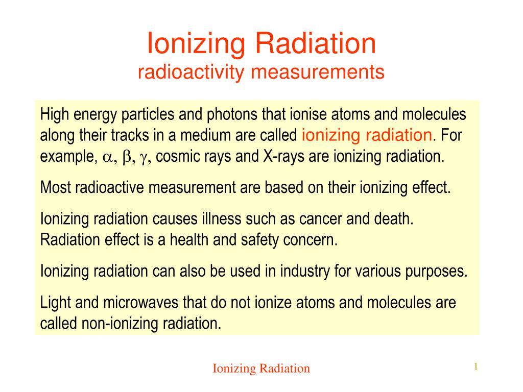 ionizing radiation radioactivity measurements l.