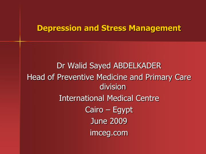 depression and stress management n.