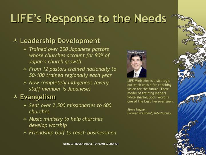 Life s response to the needs