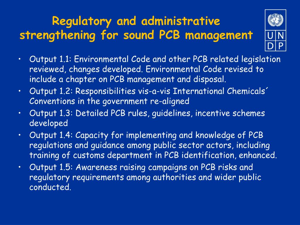 Regulatory and administrative strengthening for sound PCB management