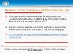 revision of the principles and recommendations