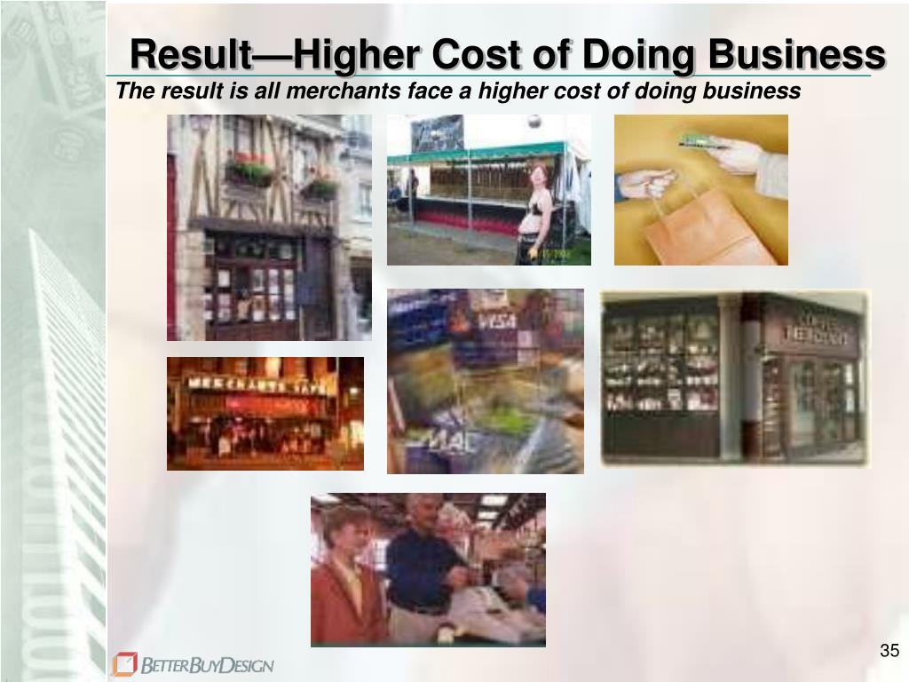 Result—Higher Cost of Doing Business