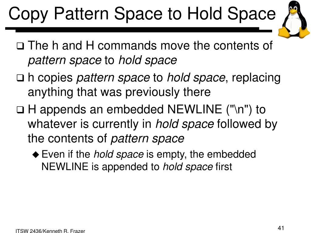 Copy Pattern Space to Hold Space
