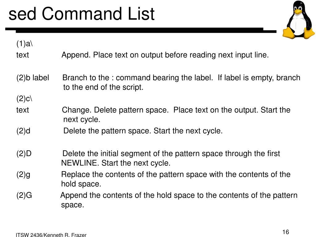sed Command List