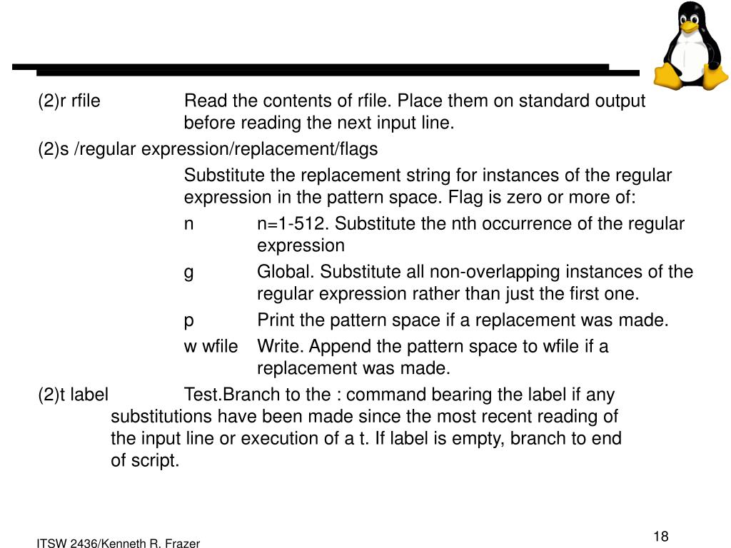(2)r rfile Read the contents of rfile. Place them on standard output before reading the next input line.