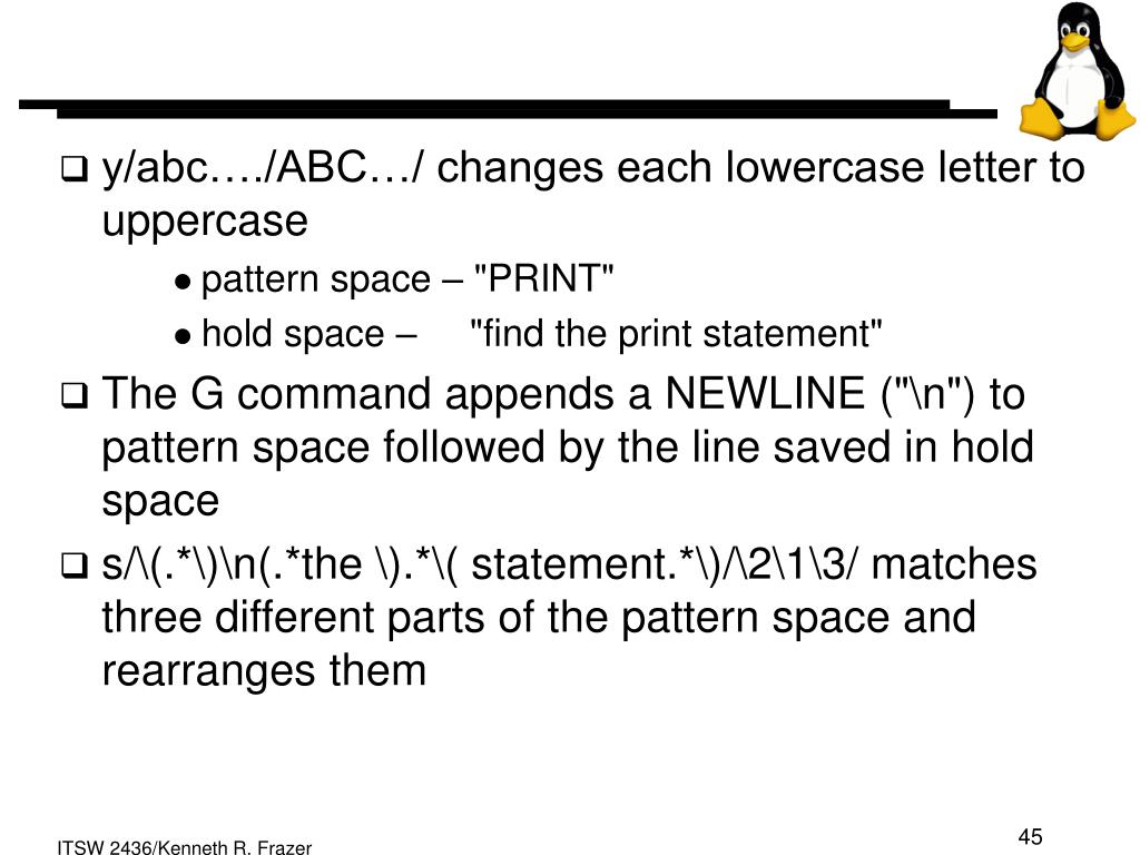 y/abc…./ABC…/ changes each lowercase letter to uppercase