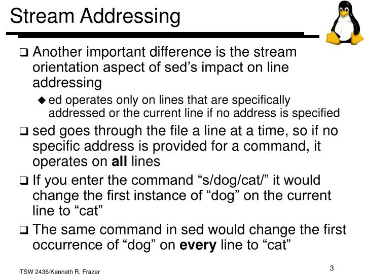 Stream addressing