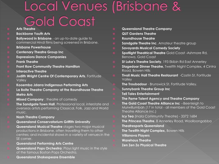 Local venues brisbane gold coast