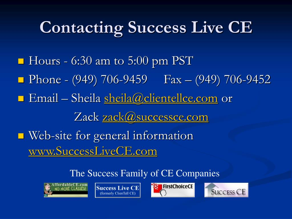 Contacting Success Live CE