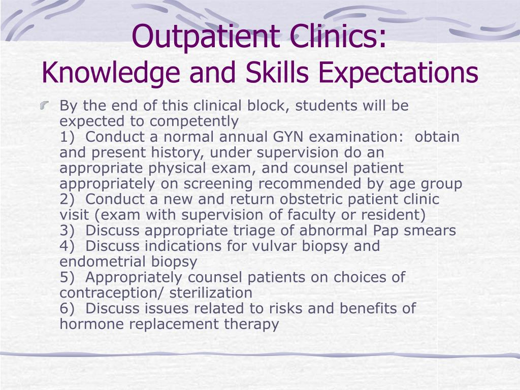 Outpatient Clinics:
