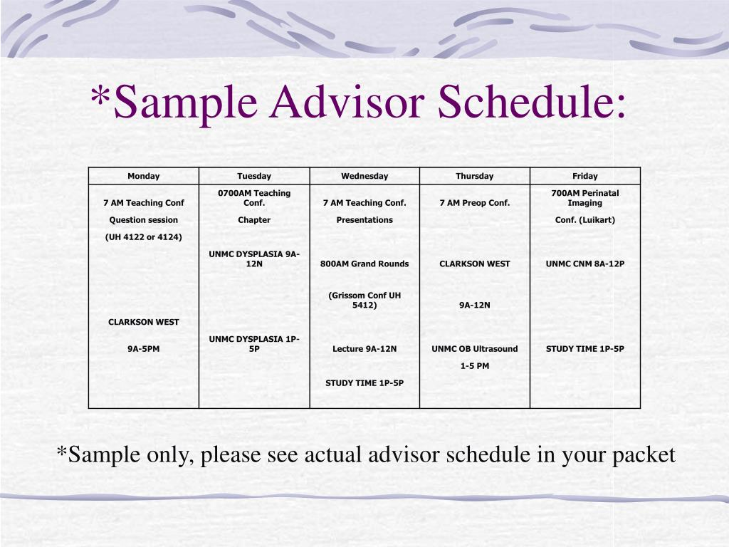 *Sample Advisor Schedule: